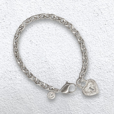 SMALL HEART LOCK CHARMED BRACELET