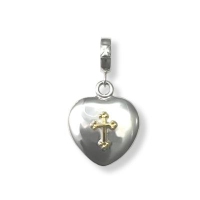 ROUND HEART PENDANT WITH GOLD CROSS