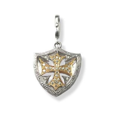 SMALL CROSS SHIELD PENDANT CENTER PAVE