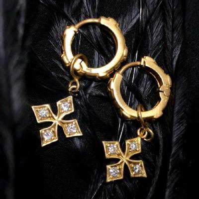 TINY CROSS/CITRINE  HINGED HOOPS AND STAR PRINCESS CROSS