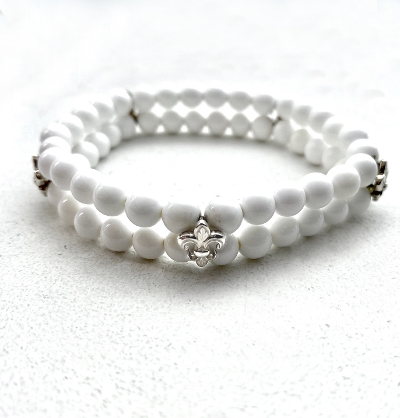 White Agate Beads Bracelets with FDL Botton