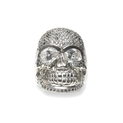 GIANT SKULL HEAD RING/IRREGULAR PAVE