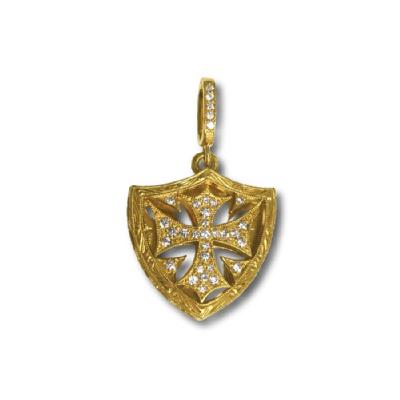 SMALL CROSS SHIELD PENDANT(center pave)